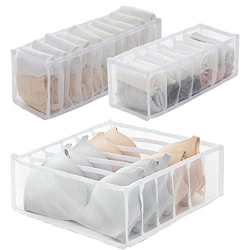 Cajones organizadores de ropa interior, 3 piezas Cajas de almacenamiento de ropa interior plegables Organizadores textiles Divisores de cajones para calcetines, sujetadores