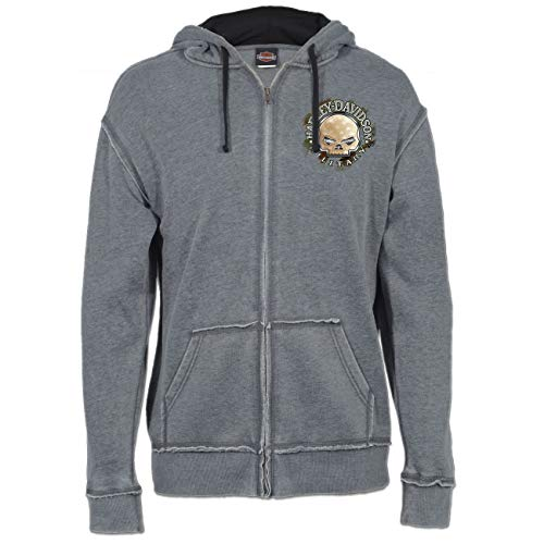 Harley-Davidson Military - Men's Charcoal Burnout Wash Zippered Hooded Sweatshirt with Raw Edge - Overseas Tour | G Star XL