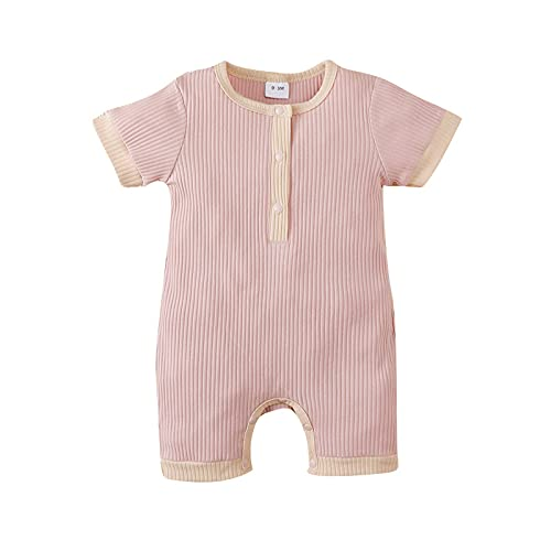 Kishawna Newborn Baby Boy Girl Knitted Romper Jumpsuit Solid Legging Bodysuit Playsuit Clothes Winter (Pink, 12-18 Months)