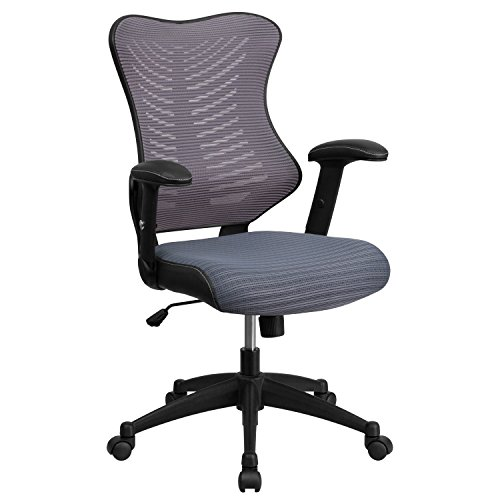 Flash Furniture High Back Designer Gray Mesh Executive Swivel Ergonomic Office Chair with Adjustable Arms