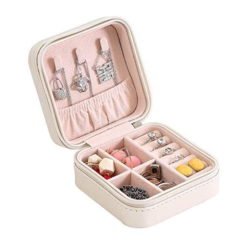 Contenitore per gioielli in valigia con scatola di Piccola scatola di gioielli Orecchini a forma di anello Scatola da viaggio portatile Piccola scatola di gioielli Grande regalo per ragazze e donne Ve