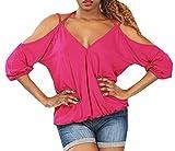 HX fashion Signore Camicetta di Estate Felpa Collo Spalla-Free Chic 3 4 Braccio Monocromatico Parti Superiori della Maglietta Scollo A V Fionda Camicie Ragazza (Color : Rosa, Size : L)