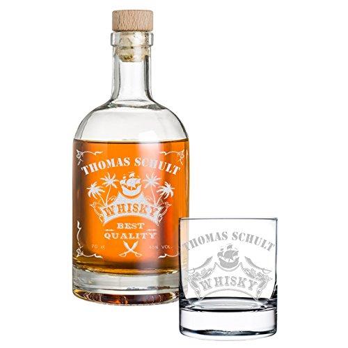 polar-effekt 2-TLG Geschenk-Set Personalisiert mit Gravur - Whiskyflasche und Whiskyglas - Glas-Karaffe Inhalt: 700ml - Geschenkidee für Männer - Motiv Piratenschiff