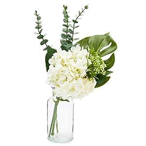 Farmlyn Creek Artificial Hydrangea Flowers and Monstera Leaf with Glass Vase, Home Decor