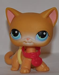 Kitten Shorthair #71 (4 Paws, Orange, Blue Eyes) 2004 Littlest Pet Shop (Retired) Collector Toy - LPS Collectible Replacement Single Figure Loose (OOP Out of Package)