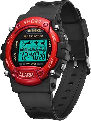 Reloj deportivo para niños 8-12 30 m impermeable relojes deportivos para niños 12H/24H cronómetro calendario reloj de pulsera regalos para juguetes de cumpleaños para niñas (azul)-rojo