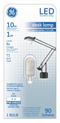 GE Lighting 29003 LED Light Bulb, T3, Warm White, Frosted, Non-Dimmable, 90 Lumens, 1-Watts - Quantity 4