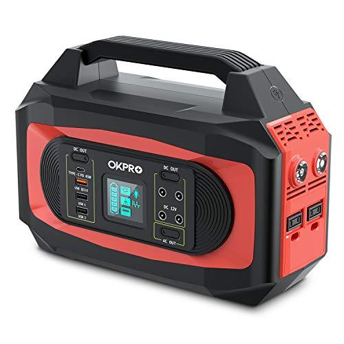 OKPRO ポータブル電源 大容量 500W 120000mAh/444Wh 家庭&アウトドア両用蓄電池 PSE認証済み 純正弦波 液晶大画面表示 AC(500W 瞬間最大750W)/DC/USB/Type-C出力 急速充電QC3.0搭載 四つの充電方法