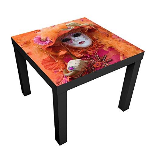 Bilderwelten Mesa de diseo - Carnival In Orange - 55x55x45cm, Mesa Auxiliar mesilla de Noche mesita, Tabla de Colores: Vector Blanco, Tamao: 55 x 55 x 45cm