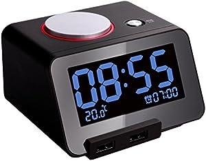 Shuangklei Réveil Électronique Payant 24 Mute Bande Lumineux À Led De Charge Usb Thermomètre De Contrôle Surdimensionné De Bureau Led Horloge Numérique,Black