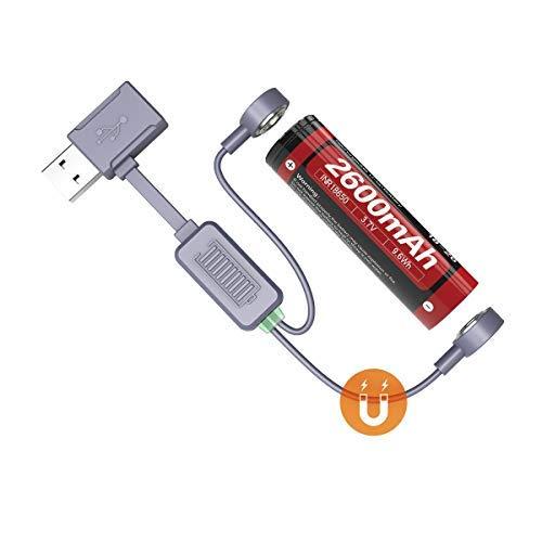 Weltool USB Magnet-Ladeadapter Akku-Ladegerät Universal für Li-Ionen-Akku Batterien Ladegerät für Reisen, kompatibel mit 26650 21700 20700 18650 18350 16340 Akku Laden Entladung Aktivierung (BC3)
