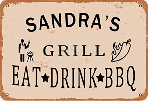 Keely Sandra'S Grill Eat Drink BBQ Metall Vintage Blechschild Wanddekoration 12x8 Zoll für Café, Bar, Restaurant, Pubs, Männerhöhle, Dekorativ