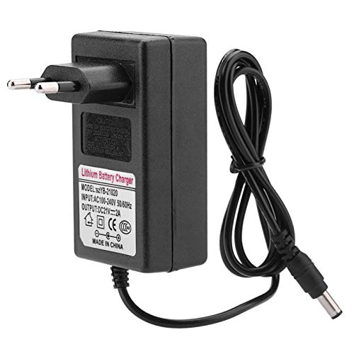 Dilwe Cargador de batería de Iones de Litio de 100-240 V CA, Adaptador de Fuente de alimentación de Carga Segura de 21 V CC 2 A, a Prueba de Fuego, Puerto de Salida de 5,5 * 2,5 mm(Negro)