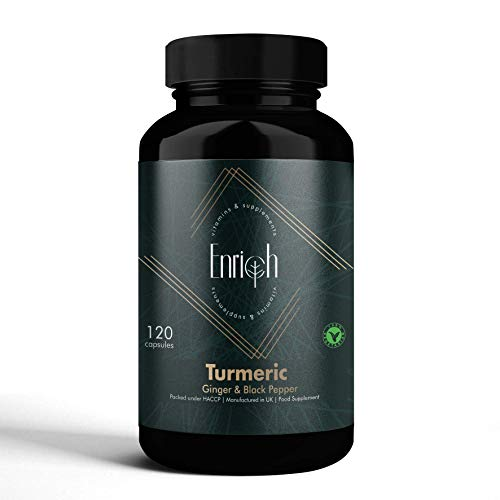 Enrich Turmeric with Ginger and Black Pepper 1420 Mg for Better Absorption of Turmeric Curcumin- 120 High Strength Vegetarian Supplement Capsules (2 Months Supply) Made in The UK