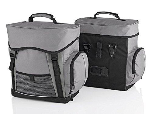Crivit waterafstotende fietstas bagagetas voor bagagedrager incl. regenhoes fietsbagagedragertas grijs/zwart