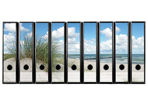 codiarts. Set 9 Stück breite Ordner-Etiketten - Düne Strand und Meer - selbstklebend (Ordnerrücken Aufkleber Sticker)