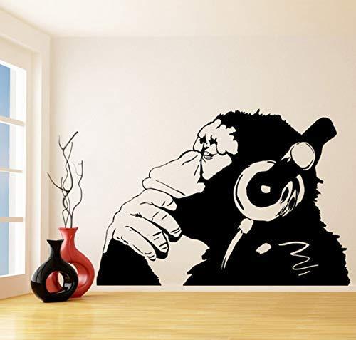 Vinyl Muursticker Aap Met Koptelefoon Chimpansee Luisteren Naar Muziek Woondecoratie Kunst Muurschildering Muursticker 58X84Cm