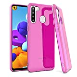 EnCASEs Cell Phone Case for Samsung Galaxy A21, Classic TPU Shockproof Bumper Protective Case Cover, Hot Pink