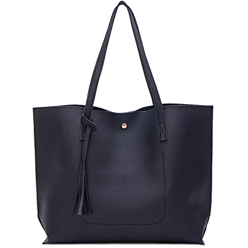 Myhozee Borsa Donna Tracolla Shopper Ladies Borse a spalla Borse a Mano Borse in PU Leather Borse Semplice Borse Tote Borsetta Messenger Bag Shopping per Business Work Viaggio Grandi, Nero