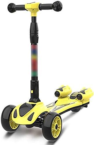 LiPengTaoShop Kinderroller Kinderroller Klapproller mit Wasserspritzroller Mobilroller geeignet für Kinder von 2-14 Jahren (Farbe   Gelb)