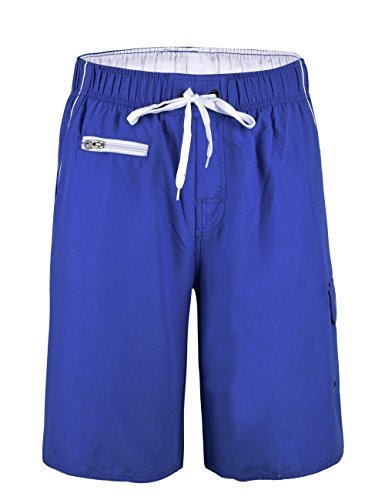 Nonwe Men's Beachwear Boardshort Quick Dry Zipper Pockets with Mesh Lining Blue 34