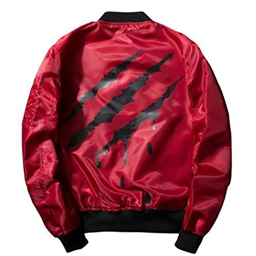 Men's Bomber Jacket Air Force Pilot Jacket Hip Hop Printed Windbreaker Coat Clothes red XXL