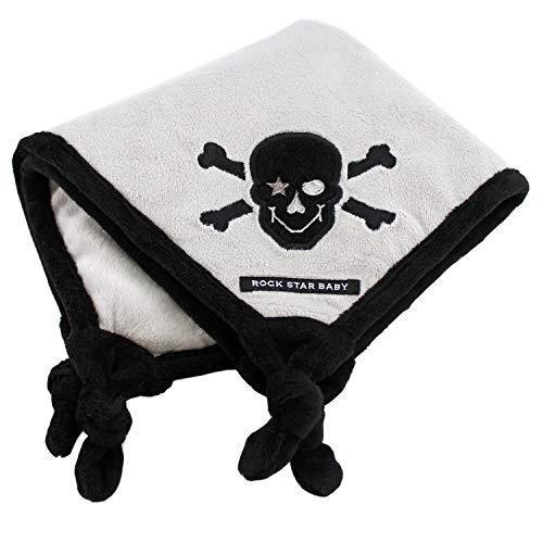 ROCK STAR BABY® by Tico Torres Schmusetuch für Babys, kuscheliges Soft Velour Kuscheltuch ★ Pirat, schwarz