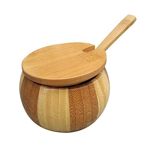 Perfecthome kuip van hout, deksel van bamboe, kruidenhouder, bewaarbak, keukengerei met deksel en lepel, stofbescherming, eettafel, gedecoreerd
