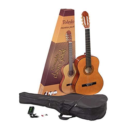 Pack de iniciación 3/4 guitarra clásica española Romanza mod Toledo con funda, afinador y puas - rockmusic