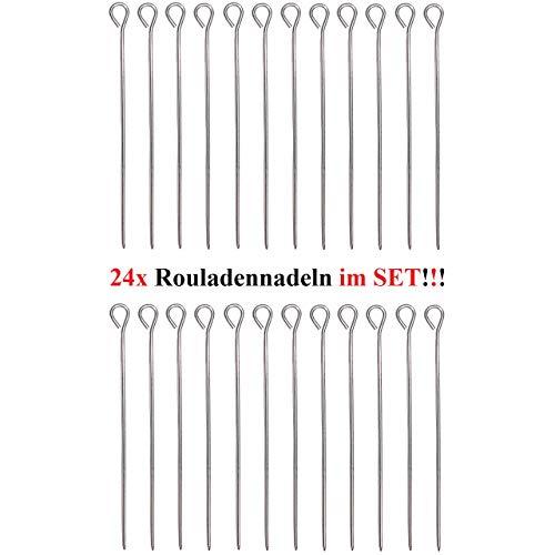 1a-becker 24 Stück Rouladennadeln Rouladenhalter Rouladen Spieß Nadel Edelstahl 9,8 cm