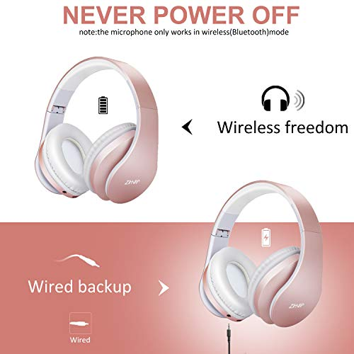 Bluetooth Over-Ear Headphones, Zihnic Foldable Wireless and Wired Stereo Headset Micro SD/TF, FM for Cell Phone,PC,Soft Earmuffs &Light Weight for Prolonged Waring (Rose Gold) 7