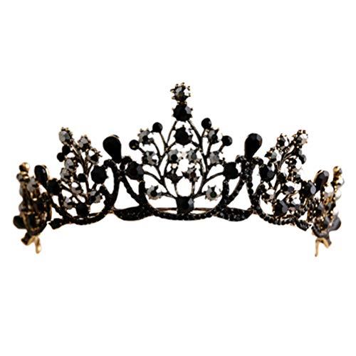Minkissy Barock Krone Retro Gothic Strass Prinzessin Krone Schwarz Kristall Königin Krone für Cosplay Party Halloween