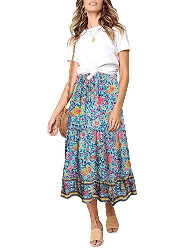 SimpleFun Women Maxi Skirt Floral Print Summer A Line Pleated Long Skirt with Elastic Waist(Green Flowers,XL)
