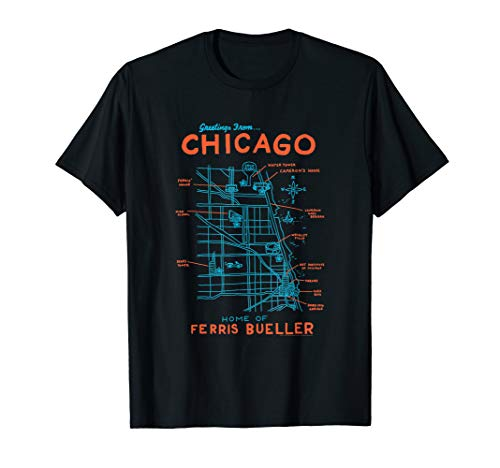 Ferris Bueller's Day Off Chicago Map T-Shirt, Adults and Kids Sizes