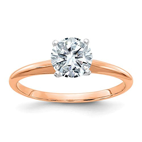 14k Rose Gold 3.00ct. 9.5mm Round Colorless Moissanite Solitaire Band Ring Size 7.00 Engagement Gsh Gshx Fine Jewellery For Women Gifts For Her