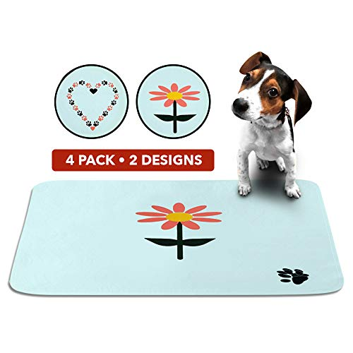 Cute Washable Puppy Pee Pads | 4 Pack Flower, Heart Designs | Large Super Absorbent Wee Wee Potty Mats | Dog Housebreaking, Pet Crate Training | Multi-Purpose Reusable Eco-Friendly | Whelping