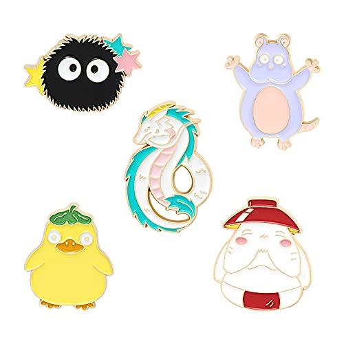 5Pcs Alloy Brooch Badge Pins Set Cute Hayao Miyazaki Anime Pins for DIY Backpacks Hats Cowboy Jackets Jewelry Student Toys Gifts