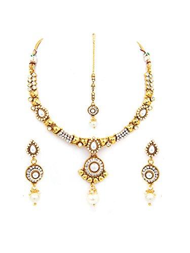 INAYA Latón Cristal y oro amarillo plateado conjuntos de collar Con Blanco Chaton Piedra, 1 par