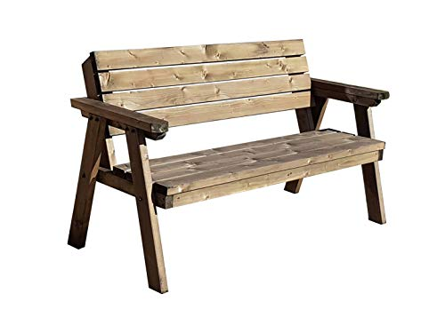 CONSILIUM Wooden Garden Seat - 2FT to 7FT in Length - Handmade Outdoor Furniture From Pressure Treated Timber (2ft, Rustic Brown)