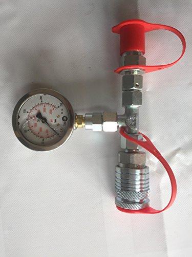 Hydrauliktester mit Manometer, 0-250bar mit hydraulik Kupplungs Stecker und Muffe BG3 12L inkl. Schutzkappen, Druckprüfer, Mess-Set
