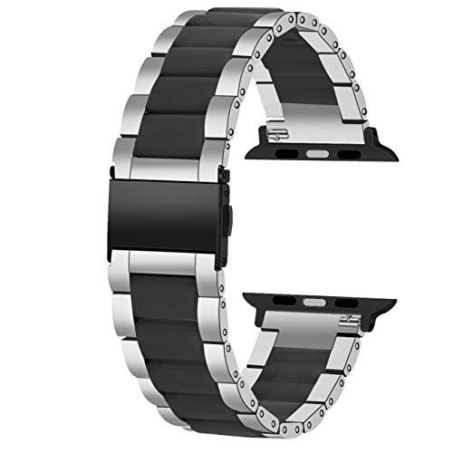 Juntan Cinturino Orologio Acciaio Inox Compatible for Apple Watch 42mm 44mm iWatch SE Apple Watch Series 6 5 4 3 2 1 Sport Cinturino Argento Nero