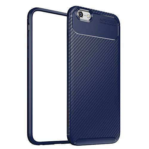 ZSCHAO Funda para iPhone 6 Fibra de Carbono Silicona Slim Fina antigolpes...