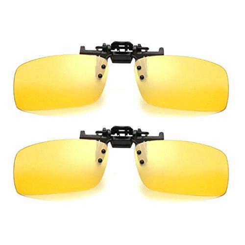 2 Paar Unisex Sonnenbrille Clip auf Nachtsicht Polarisierte Gläser Anti-Glare UV400 Schutz Fahren Angeln Schießen Jagd Skifahren Outdoor Sports Night Vision Eyewear für Männer Frauen