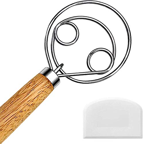 Danish Dough Whisk, Dutch Style Bread Whisk For Dough Cooking Kitchen with Stainless Steel Danish Whisk Bread Mixer 13' and Dough Scraper