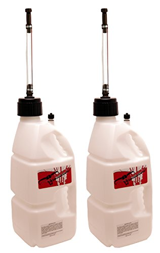2 Pit Posse White 5 Gallon Utility Jugs W/Hoses Can Racing MX Motocross Motorcycle Made in the USA