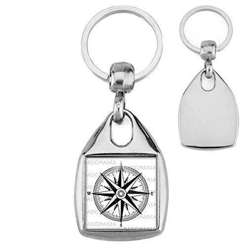 Porte Clés Carré Acier Compas Boussole 1 - Symbole Marin - Idée Cadeau