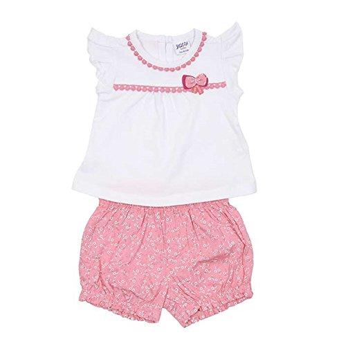 YATSI - Camiseta Y Bombacho NIÑA bebé-niños Color: Blanco Talla: 6M