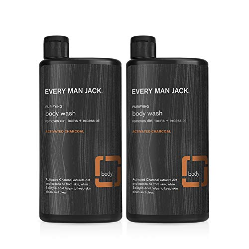 Every Man Jack Men's Body Wash - Activated Charcoal | 16.9-ounce Twin Pack - 2 Bottles Included | Naturally Derived, Parabens-free, Pthalate-free, Dye-free, and Certified Cruelty Free