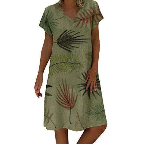 SANFASHION Damen Sommerkleid Baumwolle Leinen Kleider,Kurzarm Blumendruck V-Ausschnitt Strandkleider A-Linie Boho Knielang Kleid Lose Große Größen Shirtkleid (M, Grün)