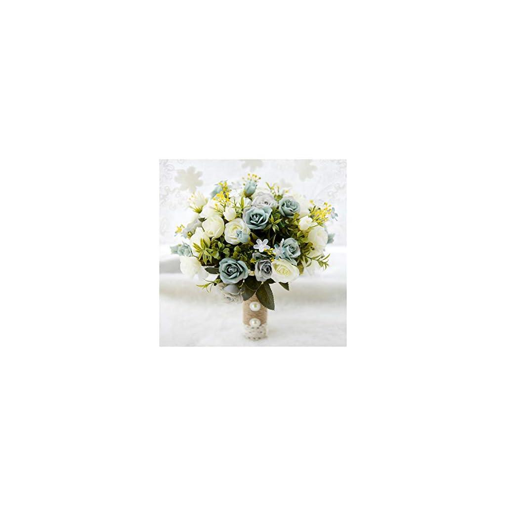 Misscany Wedding Bouquet Handmade Artificial Flower Rose Buquet Bridal Bouquet for Wedding Decoration,Blue 2